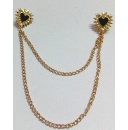 Black Hearts Collar Tips Gold W/Chain