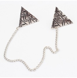 Aztec Design Collar Tip Necklace Silver