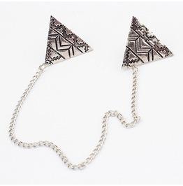 Aztec Design Collar Tip Necklace Silver