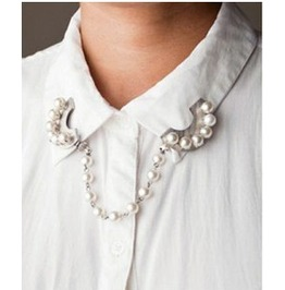 Pearl Chain Collapsible Collar Brooch Pin Silver