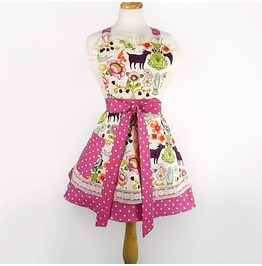 Swallows Flowers 2 Tier Apron / Pink White Polka Dots Retro Apron
