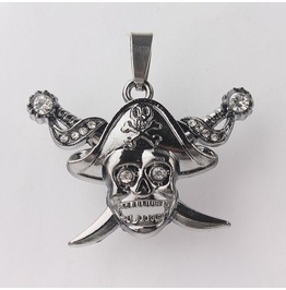 Pendant Skull & Cross Swords Austrian Crystals Stainless Steel 316 L Unisex
