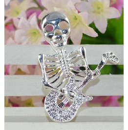 Musical Skeleton .925 Sterling Silver Unisex Pendant And Chain 20""