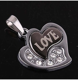 Pendant Hearts & Love Austrian Crystals Stainless Steel 316 L Unisex