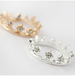Ring: Crown Crystal Rhinestone Ring Silver Or Gold