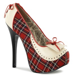 Bordello Shoes Teeze Red Tartan Oxford Stiletto Platforms