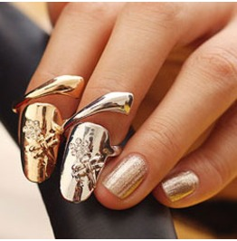 Fingernail Ring Flower Crystals Gold Or Silver