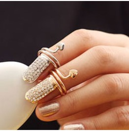 Fingernail Ring Topaz Crystals And Snake Silver