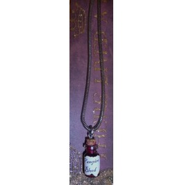 Vampire Blood Glass Vial On Britannia Silver Antiqued Chain