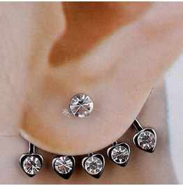 Heart Crystal Ear Stud Silver