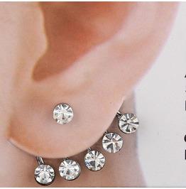 Round Crystal Ear Cuff / Stud Silver