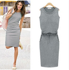 Casual Sleeveless Tie Waist Side Pockets Grey Dress