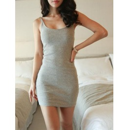 Deep Boat Neck Sphagetti Strap Slim Fit Short Dress