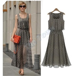 Sleeveless Polka Dots Maxi Dress