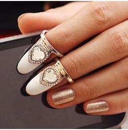 Fingernail Ring Heart Crystal Silver