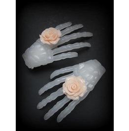Skeleton Hand Hair Clip Peach Flower