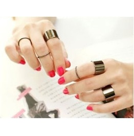 6 Gothic Black Or Gold Rings Set