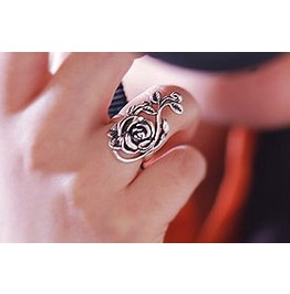 Flower Antique Silver Pinky Finger Ring