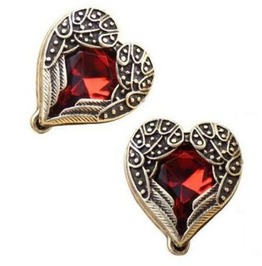 Ruby Red Wings Heart Earrings Antique Gold