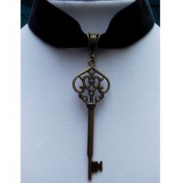 Gothic Steampunk Black Velvet Bronze Key Choker Pendant