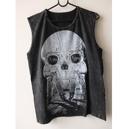 Astronaut Skull Illusion Moon Punk Rock Stone Wash Vest Tank Top M