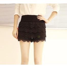 Black/White Layer Cake Crochet Miniskirt/Shorts