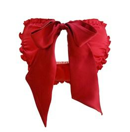 Stella Rouge Red Silk Satin Ouvert Scrunchie Bow Knicker Valentines Day Gift