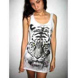 Tiger Animal Punk Rock Wolf Tank Top M