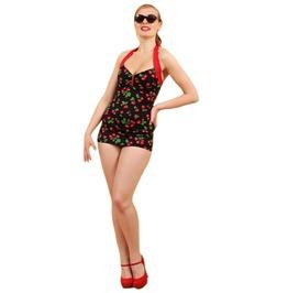 R Etro Rockabilly Pin Black Cherry Swimsuit Vintage Women Girl Ladies Swimwear Sexy