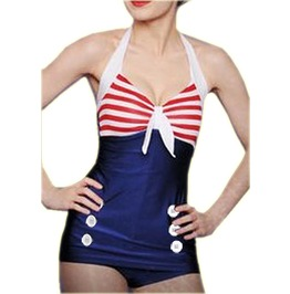 Retro 50s Rockabilly Pin Blue Swimsuit Women Ladies Swimwear M L Xl Xxl