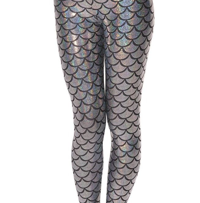 Womens Mermaid Pattern Stretch Leggings