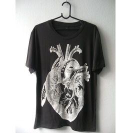 Heart Drawing Diagram Anatomy Rock Fashion Punk Goth T Shirt M