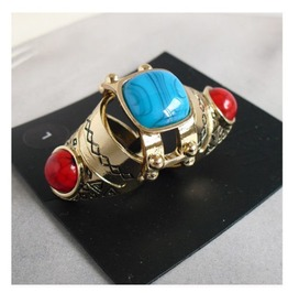 Quality Knuckle Ring Red Coral & Turquoise Gold