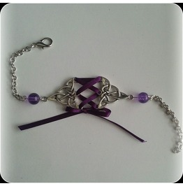Corset Bracelet Purple Crackle Beads