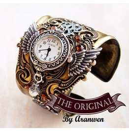 Steampunk Watch Cuff Mens Watch Women Watches Brass Wings Watch Bracelet Steam Punk Jewelry Steampunk Jewelry