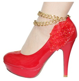 High Fashion High Heeled Boot Or Shoe Gold Anklet Chain 2 Tier