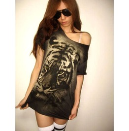 Tiger Animal Wave Punk Rock Wolf T Shirt Low Cut M