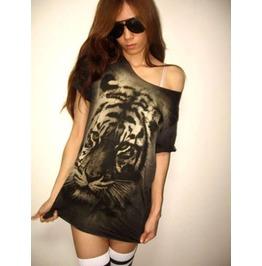 Tiger Animal Wave Punk Rock Wolf T Shirt Low Cut M