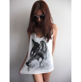 Wolf Fox Animal Design Indie Rock Tank Top