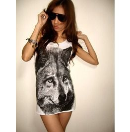 Wolf Tiger Animal Wave Punk Rock Tank Top M