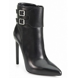 Pointed Toe Side Zipper Double Buckle Thin High Heel Boots