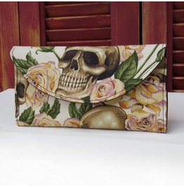 Skulls Bed Roses Wallet Yellow