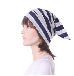 Night Cap Navy Blue White Striped Jersey Knit Mens Nightcap Womens Sleep Hat
