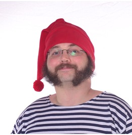 Mr Smee Hat Red Stocking Cap Pompom Mens Womens Long Beanie Fleece Elf Hat