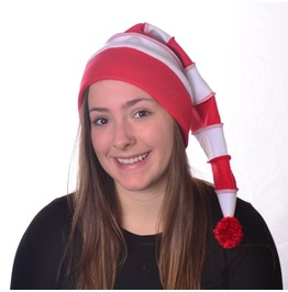 Long Stocking Cap Red White Striped Candy Cane Christmas Elf Hat