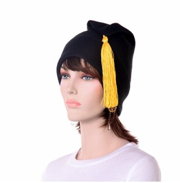Liberty Cap Black Gold Phrygian Cap Tassel Fleece Hat
