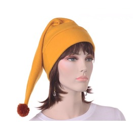 Gold Stocking Cap Fleece Hat Elf Hat Men Womens Pointed Hat Golden Brown Pompom