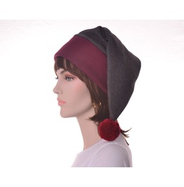 Victorian Stocking Cap Extra Large Long Beanie Hat Maroon Gray Elf Hat Man Women Hat