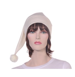 Ivory Stocking Cap Long Fleece Beanie Pompom Mens Pointed Elf Hat
