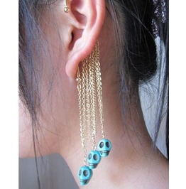 Turquoise Skull Dangle Ear Cuff Gold